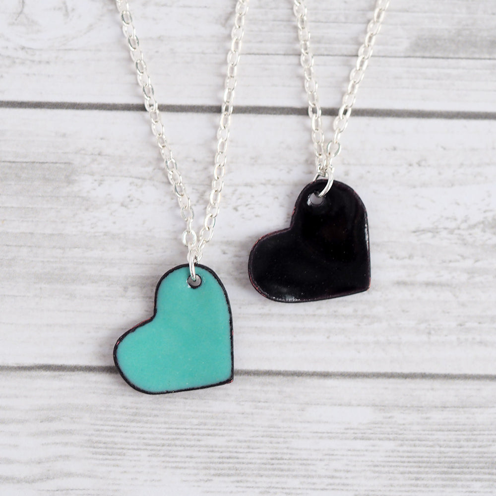 Load image into Gallery viewer, Enameled Heart Pendant Necklace