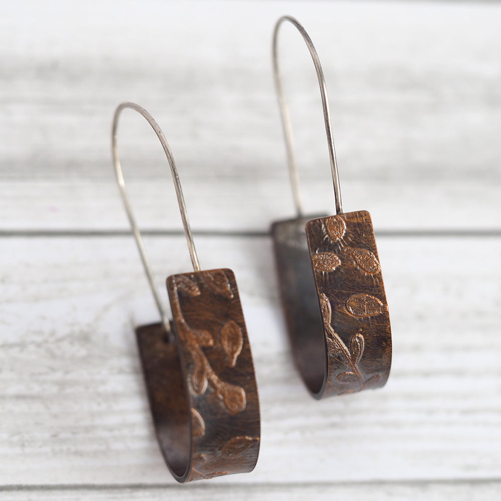 Load image into Gallery viewer, Copper Leaf Drop Earrings