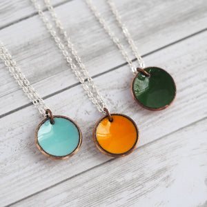 Enameled Penny Necklace
