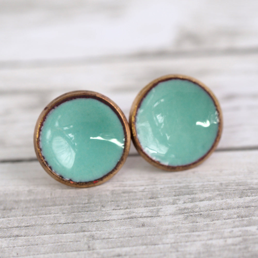 Enameled Penny Stud Earrings - Teal Blue
