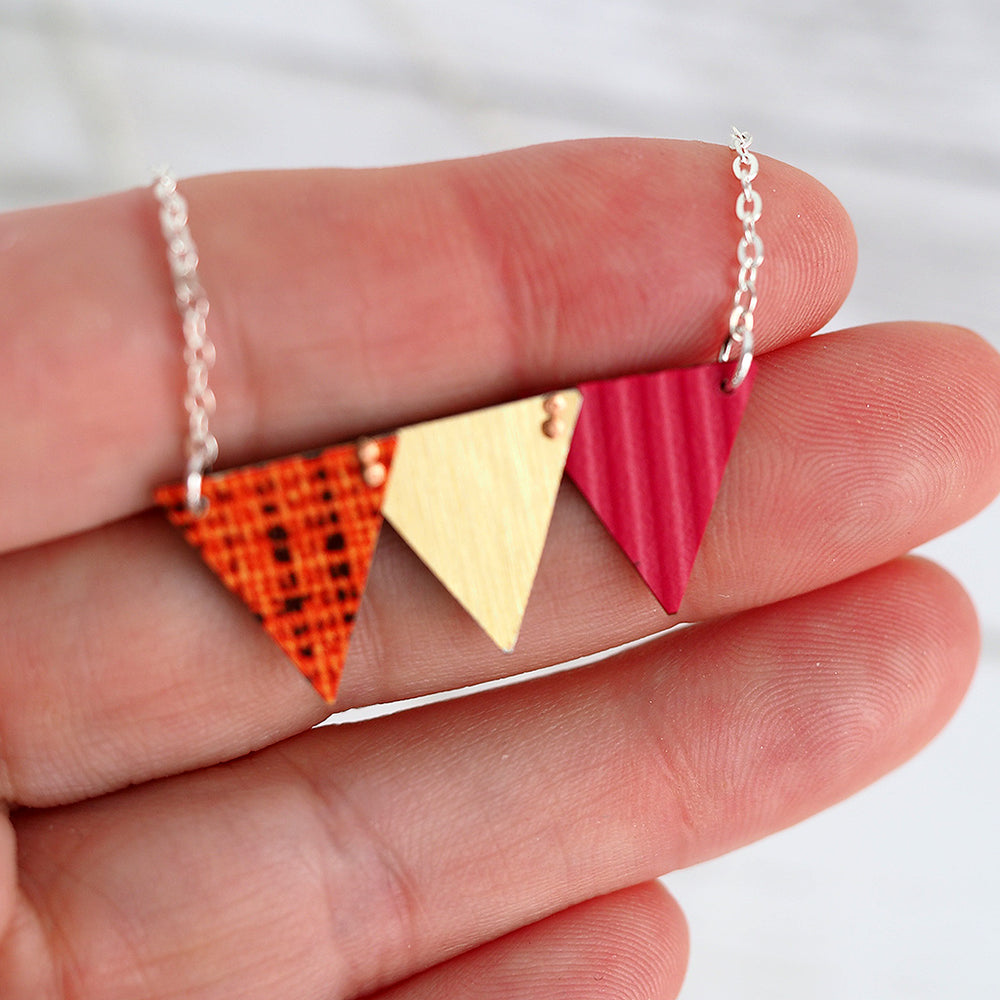 Celebration Bunting Necklace - Deep Pink, Orange & Gold
