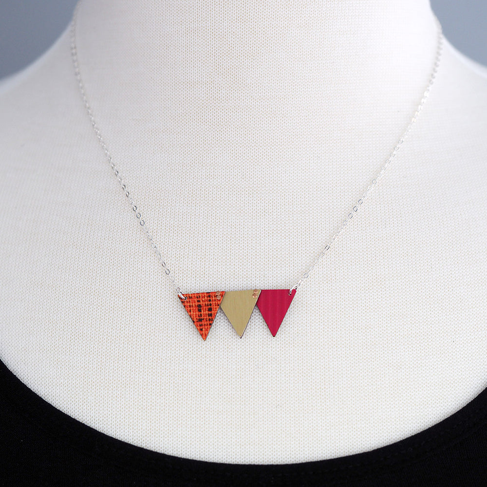 Load image into Gallery viewer, Celebration Bunting Necklace - Deep Pink, Orange & Gold