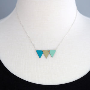 Celebration Bunting Necklace - Teal, Gold & Sea foam Green