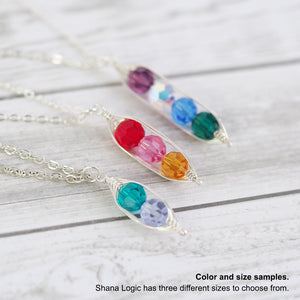Load image into Gallery viewer, Personalized Birthstone Pea Pod Necklace