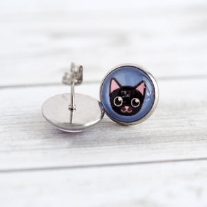 Black Kitty Cat Stud Earrings