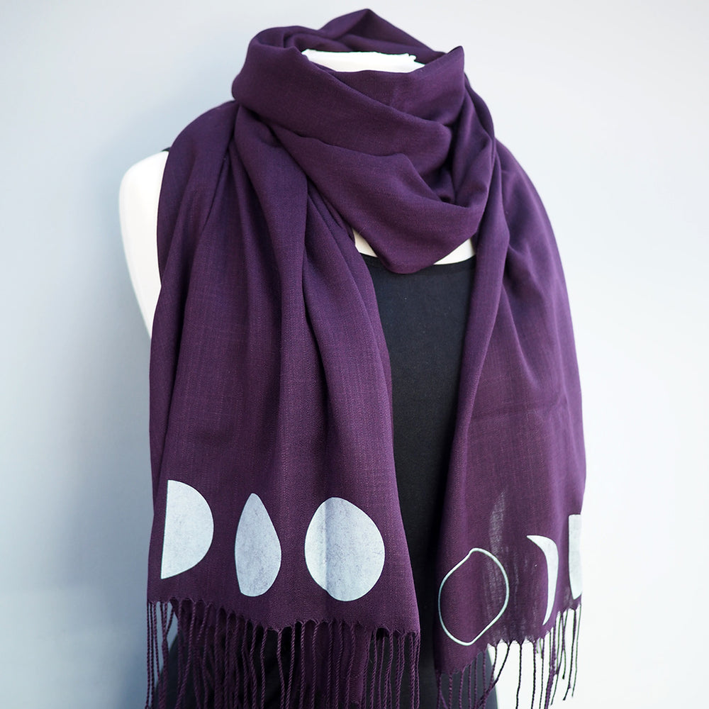 Moon Phase Scarf Pashmina - Eggplant Purple