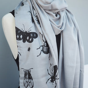 Insect Scarf Pashmina - Silvery Grey
