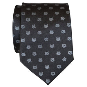 Load image into Gallery viewer, Cat Dots Necktie - Black