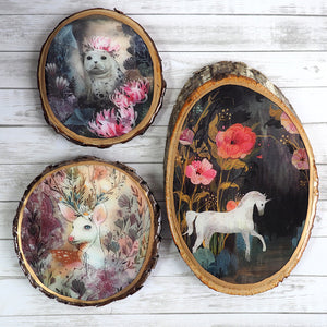 Load image into Gallery viewer, Fine Art Wooden Plaque - Floral Unicorn