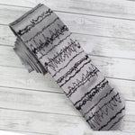 Brainwaves Necktie - Silver Grey