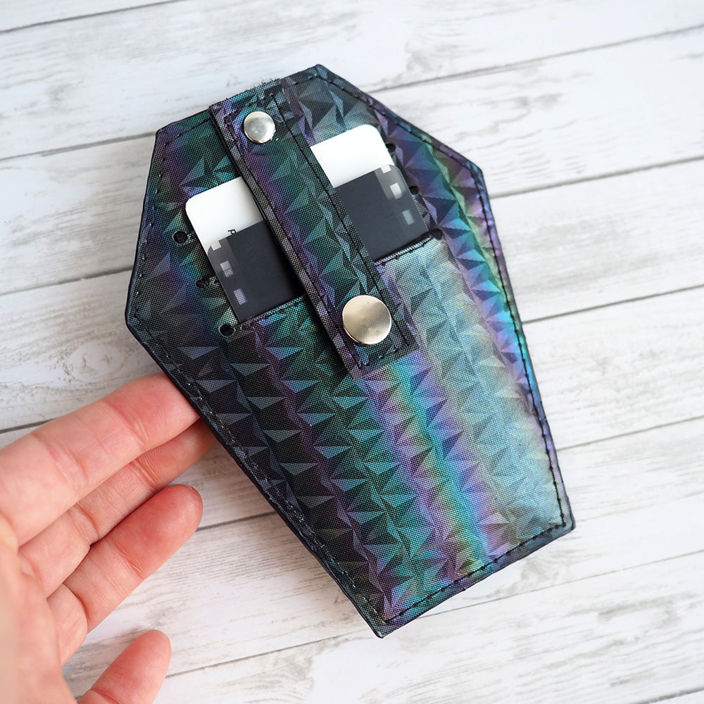 Coffin Wallet / Zippered Pouch - Holographic Night
