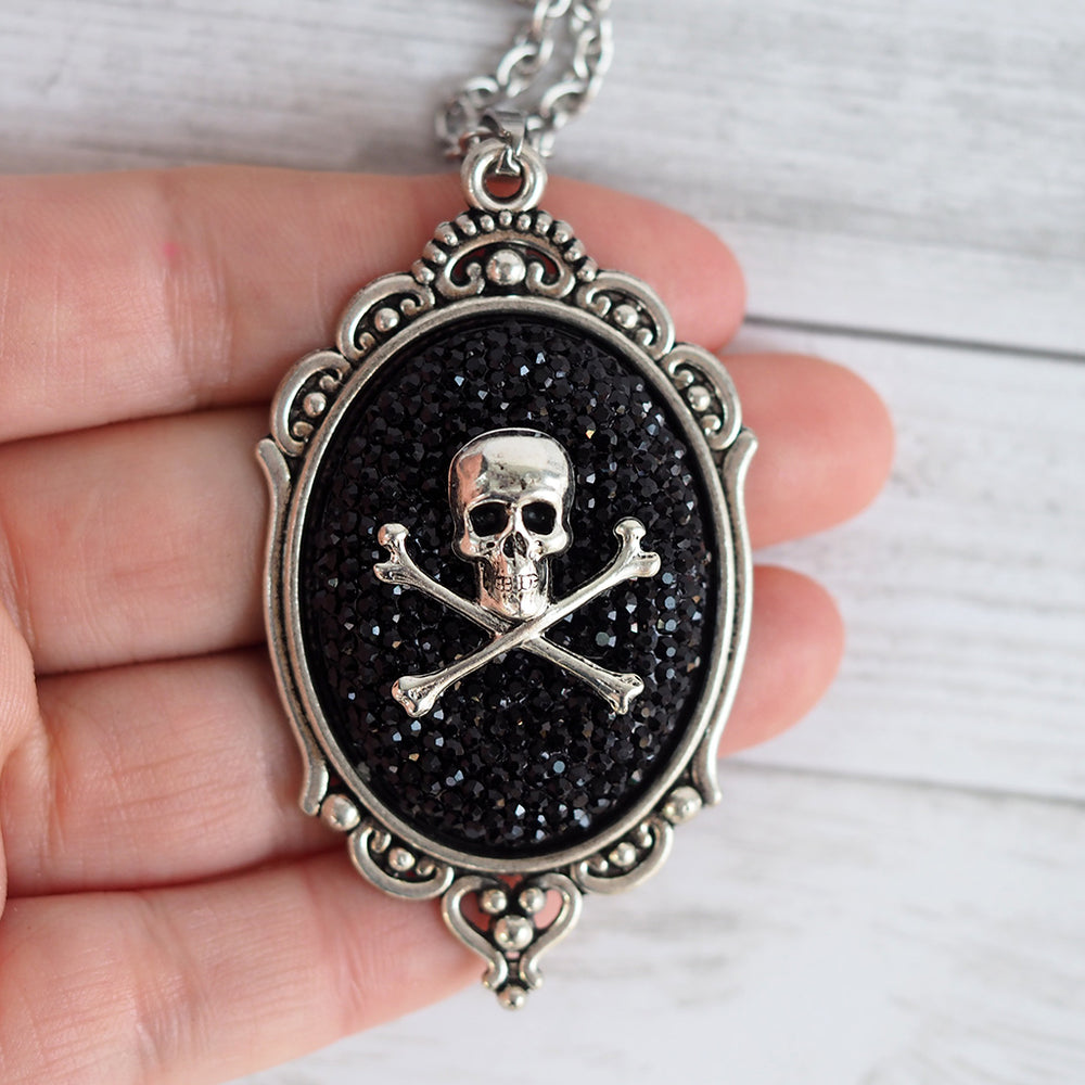 Skull and Crossbones Cameo Necklace