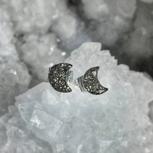 Pyrite Crescent Moon Stud Earrings