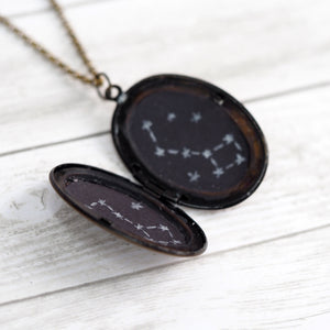 Load image into Gallery viewer, Big Dipper / Little Dipper Vintage Locket Necklace