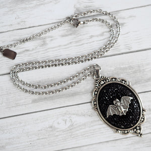Bat Cameo Necklace