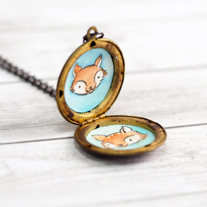 Squirrel and Acorn Vintage Locket Necklace