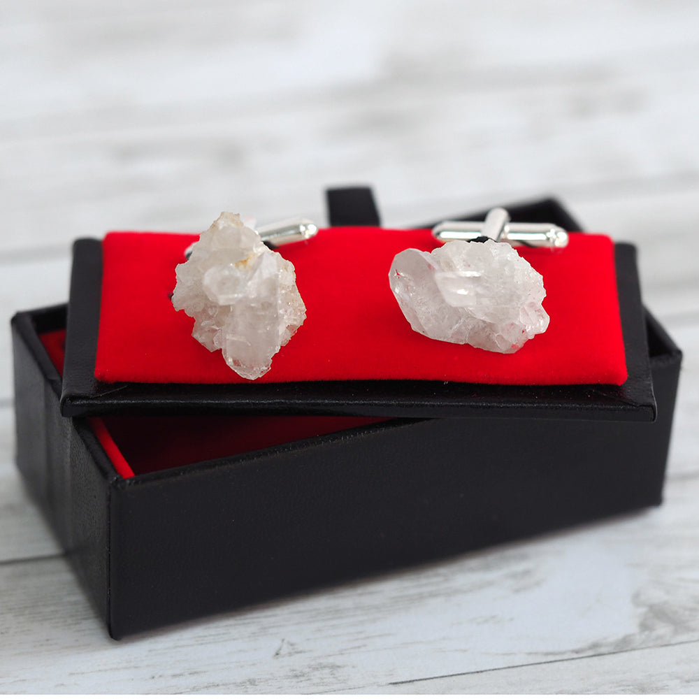 Load image into Gallery viewer, Quartz Crystal Cluster Cufflinks