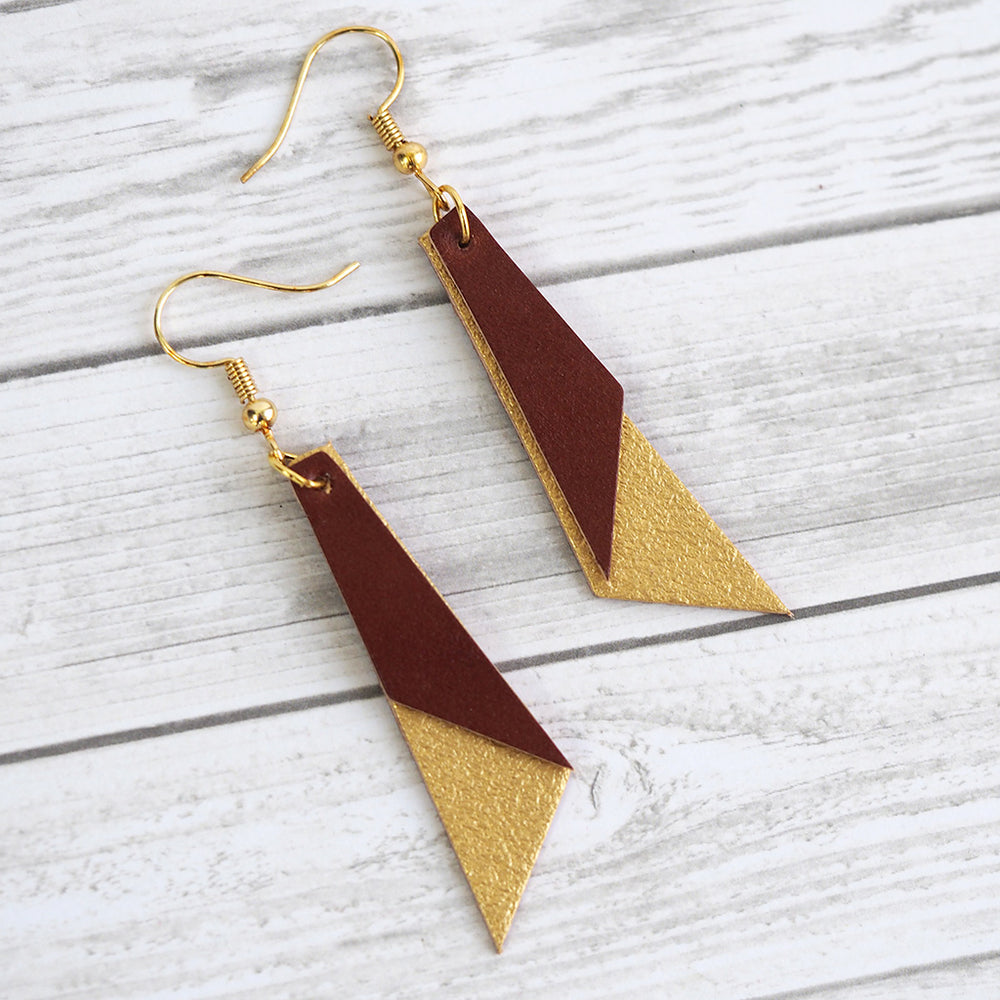 Leather Color Block Earrings - Gold