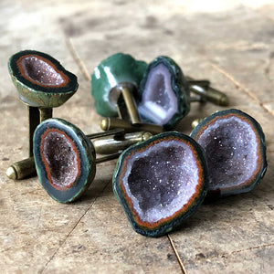 Load image into Gallery viewer, Amethyst Geode Cufflinks