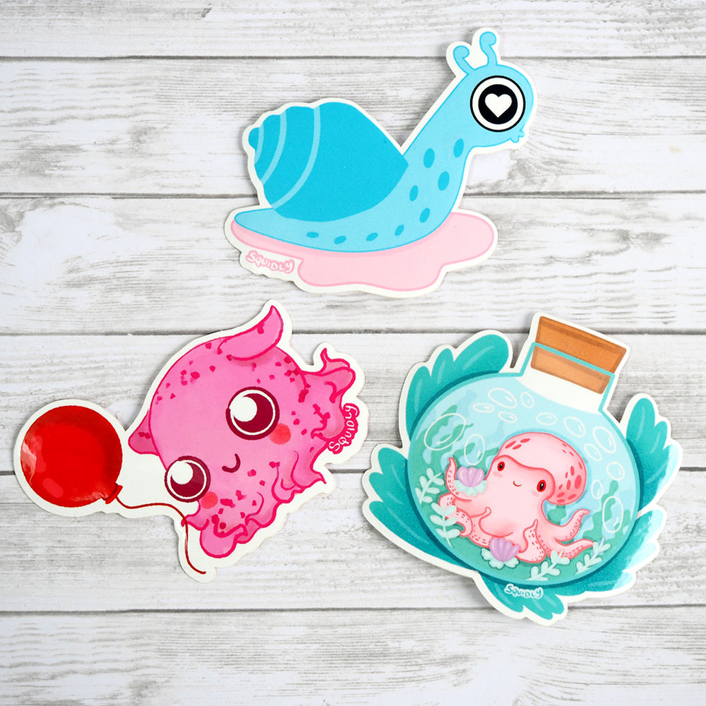 Load image into Gallery viewer, Kawaii Octopus Sticker