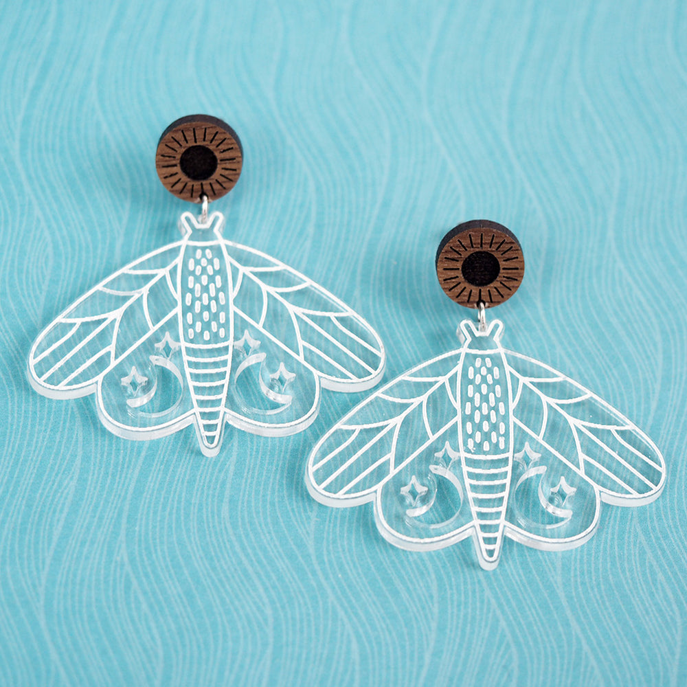 Load image into Gallery viewer, Moon & Stars Moth Earrings