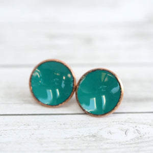 Load image into Gallery viewer, Enameled Penny Stud Earrings - Deep Turquoise
