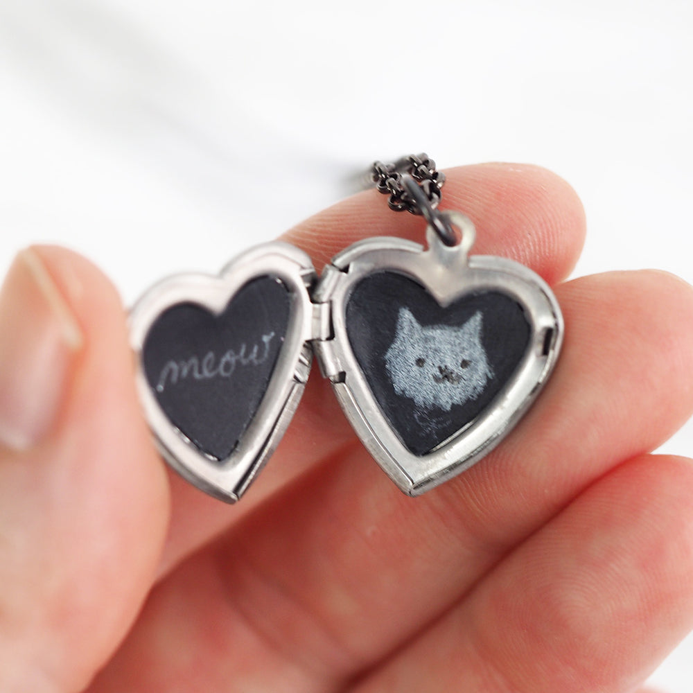 Meow Cat Portrait Vintage Heart Locket Necklace