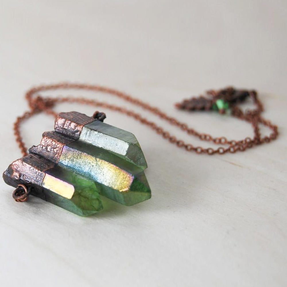 Forest Aura Crystal Trio Necklace