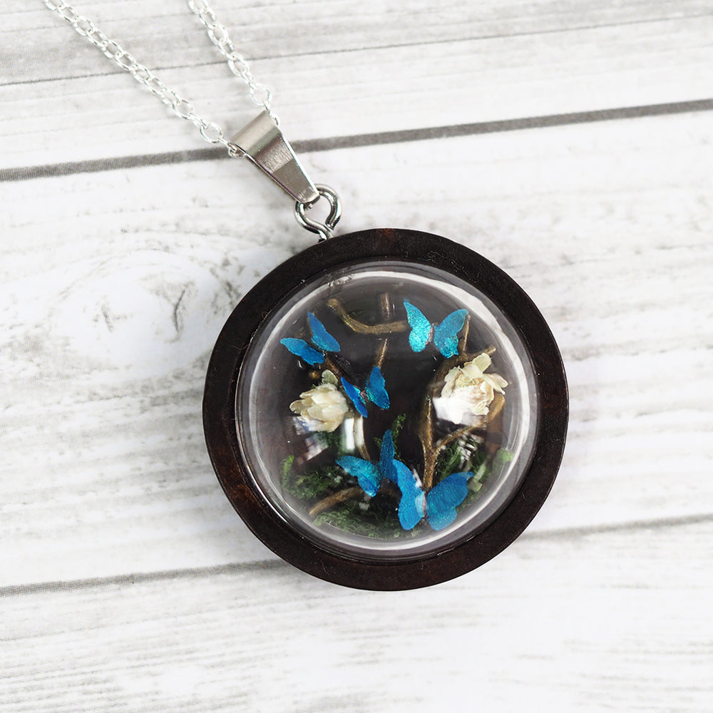 Butterfly & Flowers Terrarium Necklace