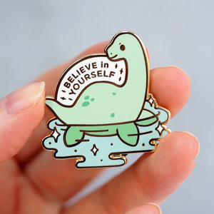 Load image into Gallery viewer, 'Believe In Yourself' Loch Ness Monster - Metal Enameled Pin