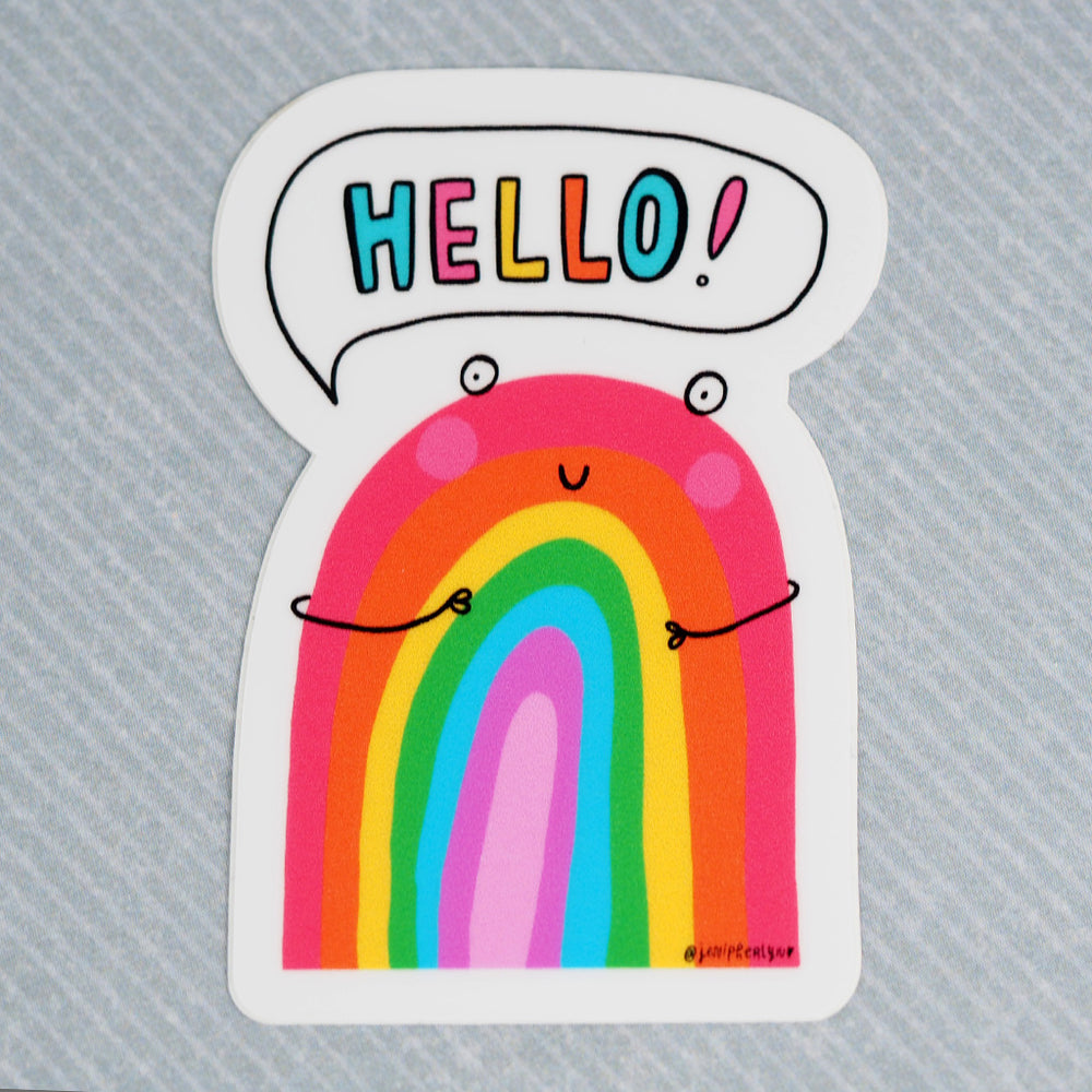 Vinyl Sticker - 'Hello!' Rainbow