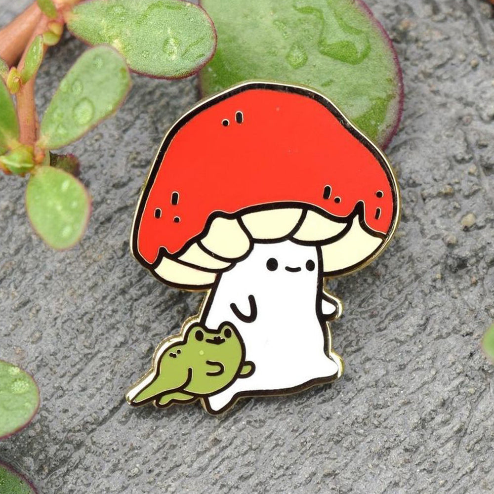 Load image into Gallery viewer, Mushroom Buddy Froggy Friend - Metal Enameled Pin