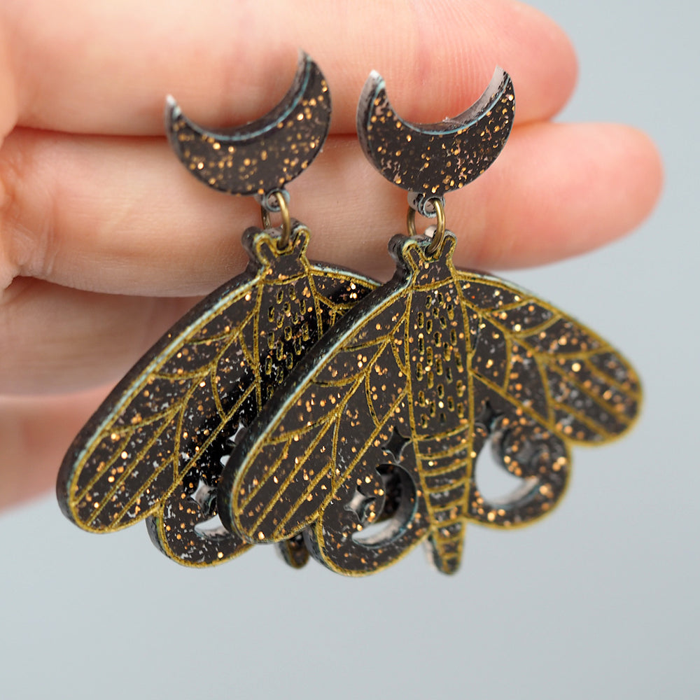 Load image into Gallery viewer, Black Moon & Stars Moth Earrings