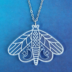 Moon & Stars Moth Necklace