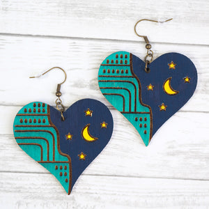 Load image into Gallery viewer, Night Sky Heart Earrings