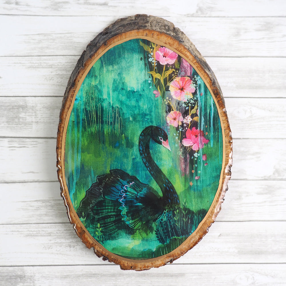 Load image into Gallery viewer, Fine Art Wood Panel - Black Swan
