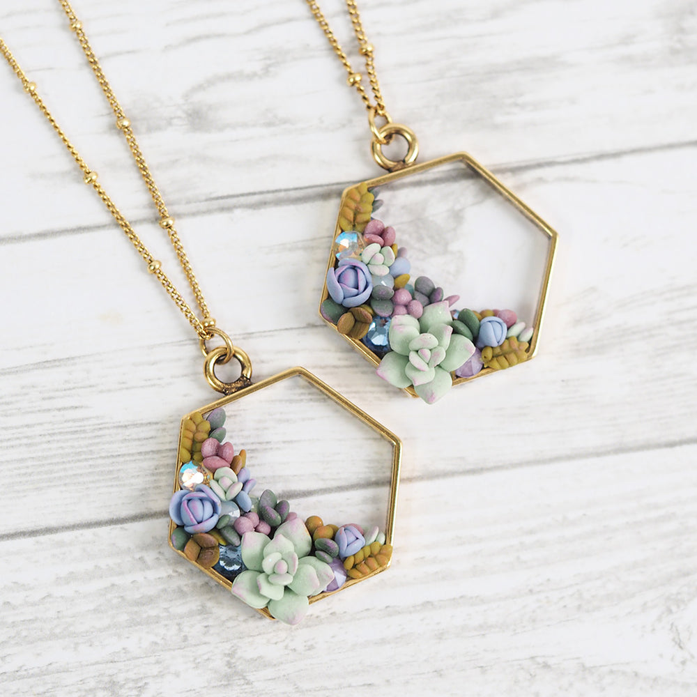 Succulent Wreath Hexagon Necklace