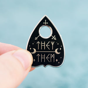 Load image into Gallery viewer, They/Them Planchette Metal Enamel Pin