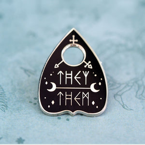 They/Them Planchette Metal Enamel Pin