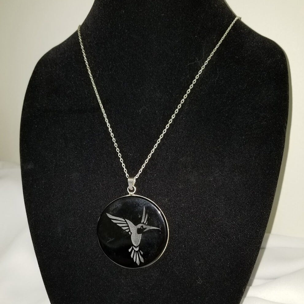 Black Obsidian Necklace Etched Hummingbird