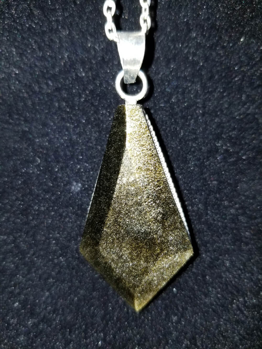 Golden Sheen Obsidian Necklace Drop Point