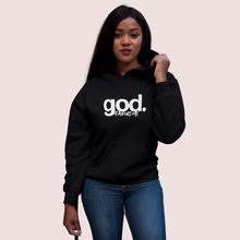 Load image into Gallery viewer, god-favors-me-chrisitan-apparel-clothes-tshirt-for-women-brand-stylish-black sweat shirt-mockup-of-a-woman-posing-for-the-fashionstyle-sweatshirt-mockup-of-a-burgundy lipstick-black women-black weave hair-woman-in-a-studio-GODFAVORME image -posing-