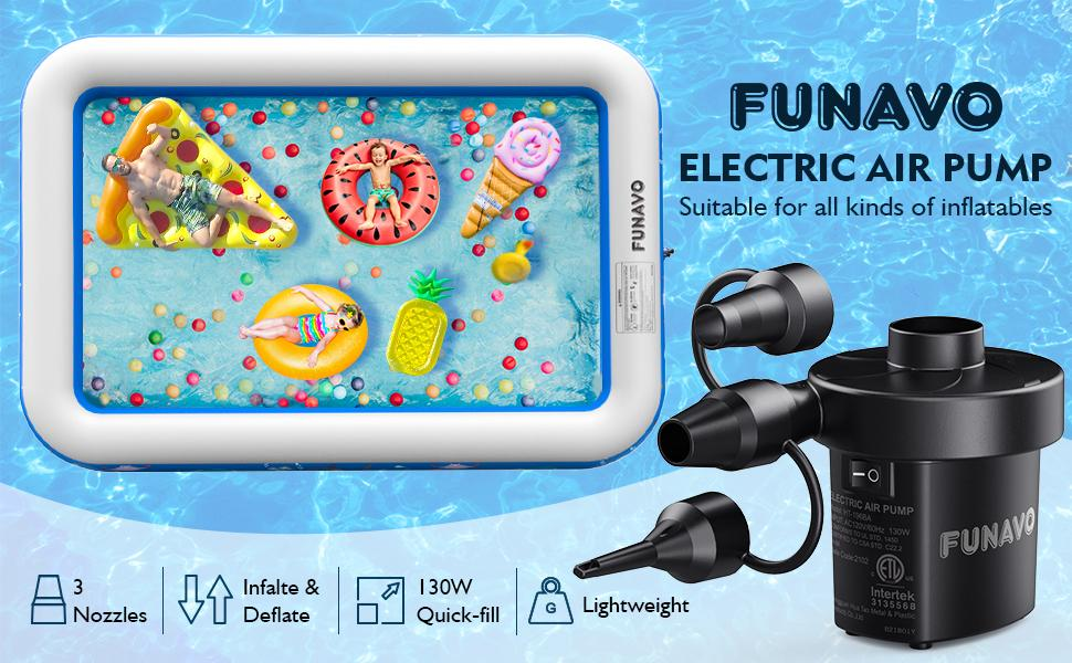 Electric Air Pump, FUNAVO Portable Air Pump With 3 Nozzles, 130 W Quick-fill electric pump, Inflate/Deflate Air Pumps for Inflatable Swimming Pools, Air Mattress, Boats, Swimming Ring (110 V AC 60 Hz)