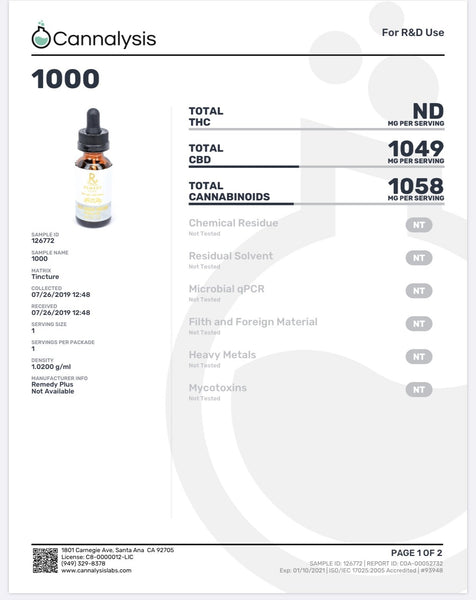 Remedy Plus USA - CBD Daily Health Tincture 1000mg - Default Title - 3
