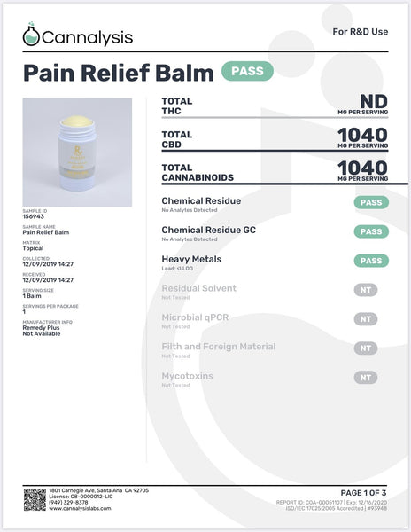 Remedy Plus USA - CBD Intensive Balm 1000 mg - Default Title