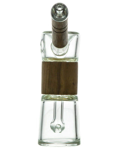 clear glass bubbler with wood accents