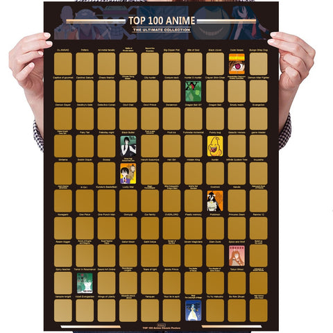 Top 100 Anime Scratch Off Poster