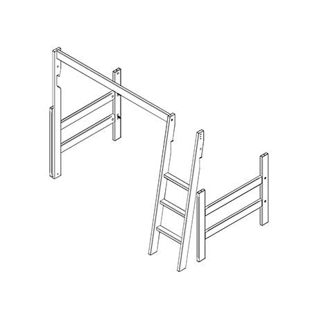 Frame, slanted ladder and parts for low loft bed