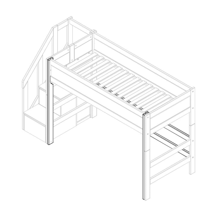 Parts for low loft bed with side entrance