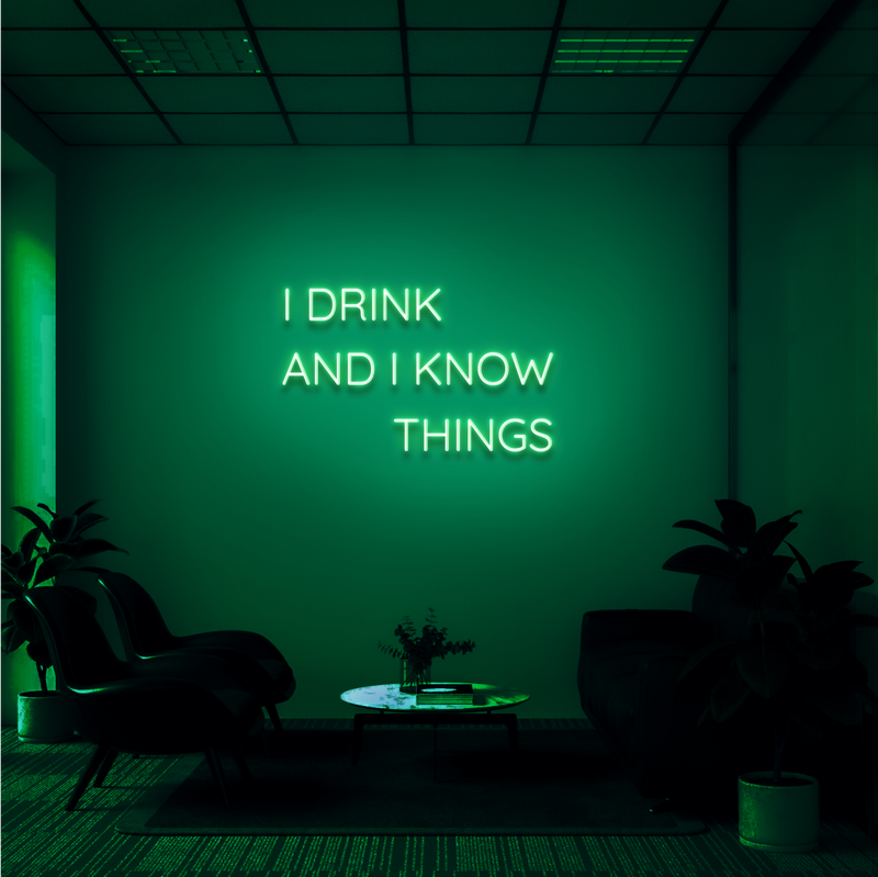 'I DRINK AND I KNOW THINGS' Neon Sign